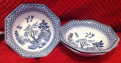 J&G Meakin Royal Staffordshire octagonal blue Willow Pattern cereal/dessert bowl