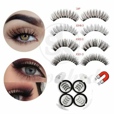 SK SKONHED 4 Pcs Full Coverage 3D Triple Magnétique Sans Colle Faux Cils