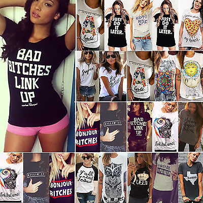 Women's T-shirt Letter Print Short Sleeves Casual Graphic Tee Shirts Tops Blouse