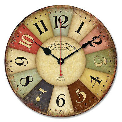 Colourful Vintage France Paris French Country Tuscan Style Paris Wood Wall Clock