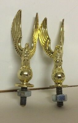 Vintage Trophy Tops Lot of 2 Metal Eagles Gold Screw On Toppers With Screws