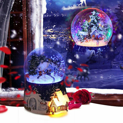 Snowman&tree house Musical Box Snow Globe LED Light Waterball Rotating Xmas Gift