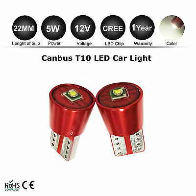 2X W5W T10 Canbus Error Free 12V White Cree Led Car Interior Sidelight Bulb Lamp