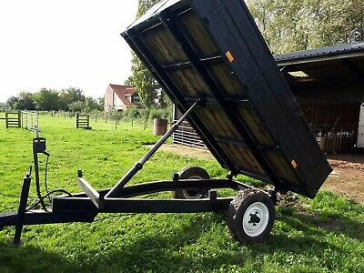 """Hydraulic Farm Horse Muck Soil Wooden Tipping Trailer. Bed 10ft x 6ft6"""""""