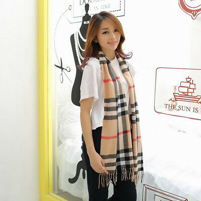Warm Lady Womens Scarf Shawl Checked Plaid Tartan Wrap Neck Stole Pashmina Soft