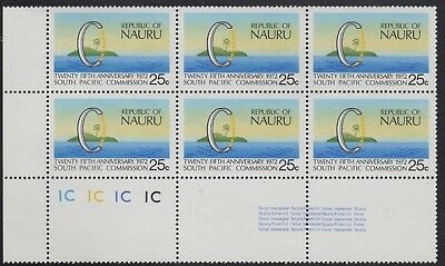Nauru 1972 South Pacific Commission sheet number/colour block of 6, mnh