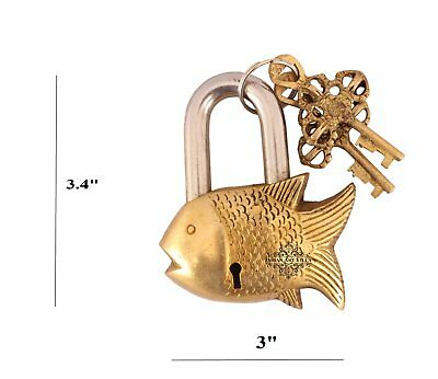 Brass Vintage Style Small Fish Shape Lock with 2 Keys|Home Temple Gift