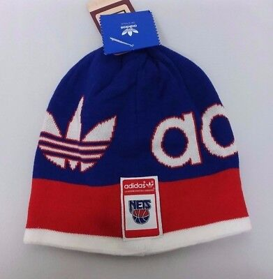de29c0a1290 New Jersey Nets NBA adidas Retro Winter Fitted Knit Beanie Hat Skully Cap  NWT