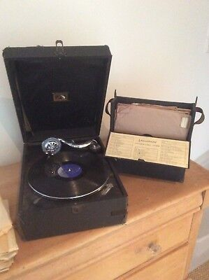 His Masters Voice 1920's Gramaphone Wind Up Portable