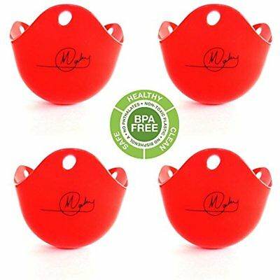 Egg Poacher 4 Red Cups Bpa Free Stovetop Or Microwave Cooker Silicone