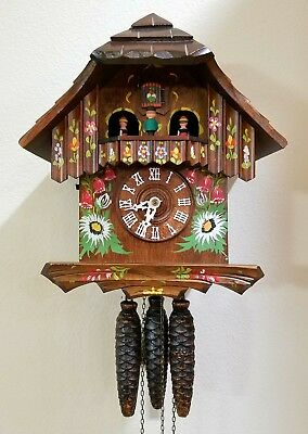 Beautiful hand painted German musical animated dancers 1 day chalet cuckoo clock
