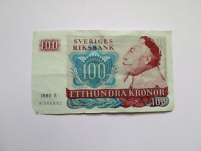 SVERIGE BANKNOTE 100 Kronor 1980-I recommend to collection