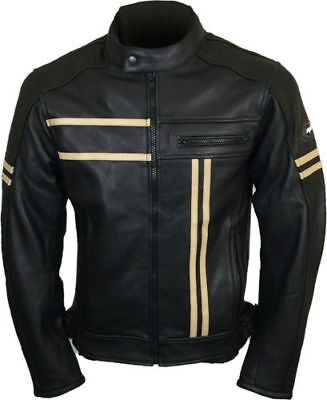 Leather Vintage Cruiser Retro Motorbike Motorcycle Jacket New Racer- ALL SIZES
