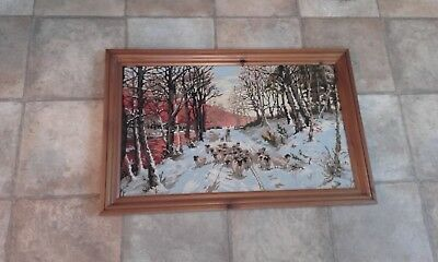 tapestry picture with winter sheep scene, framed,  handmade