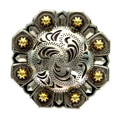 """Old Silver Plated, Gold Berry Octagonal Concho 1"""""""