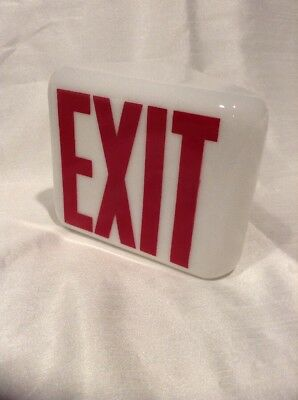 Vintage KOPP Glass Exit Sign / Red White / Industrial Theater