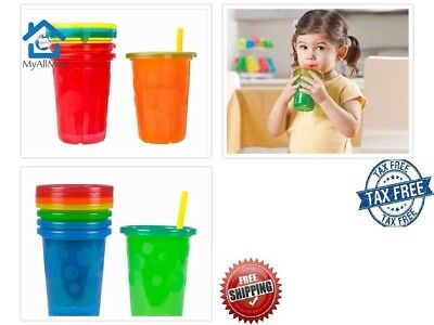 Spill Proof Plastic Cups Tumbler With Lids Straws Sippy Baby Toddler Kids 4 Pack