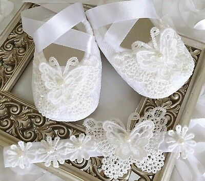 Christmas Baby Girl White Christening Shoes Crochet Butterfly Pearls Headband