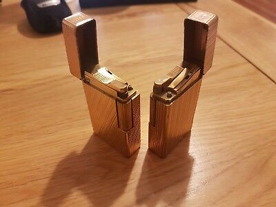 Two vintage gold plated SJ Dupont Lighters