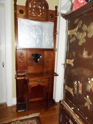 """Antique Victorian Aesthetic Ornate Cherry Halltree """"herter Brothers""""?   Gorgeous"""