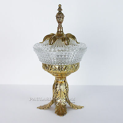 Vtg Glass Candy Dish Hollywood Regency Gold Leaf Pedestal Lid Vanity
