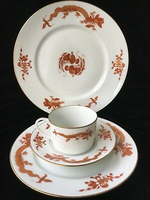 (1) Raynaud Ceralene Limoges France 'DRAGON RED' 4 Piece Place Setting-Multiples