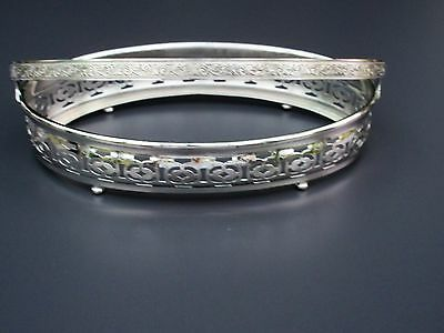 "Silver Plated Footed Oval Serving Dish Insert Stand Basket w Handle 8"" ½ x 5"""