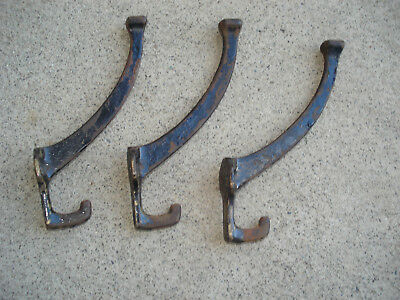 Antique Or Vintage Set Lot Of 3 Cast Iron Steel Hooks Old Hardware 6""
