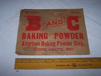 Vintage B and C BAKING POWDER Box / Crate Label TERRE HAUTE INDIANA American Co