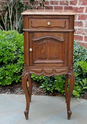Antique French Country Oak Louis XV Marble Top Side Cabinet Nightstand Table