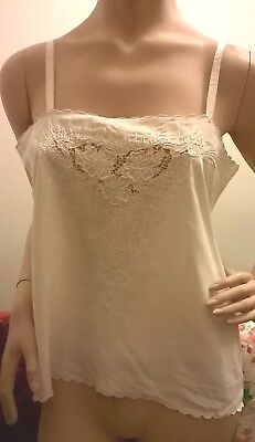 "A Vintage Silk Camisole top Embroidered cream on cream 36"" bust (R26)"