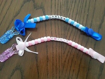 Personalised dummy clip baby boy/girl cute gift christening ribbon bow