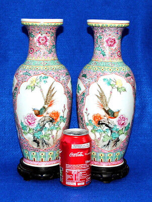 "Pair 20Thc Vintage Chinese Famille Rose Porcelain Vases Painted Birds 15""1/2"