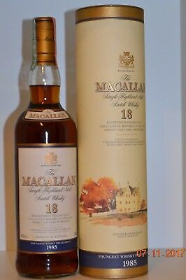 Single Malt Scotch Whisky MACALLAN 18 years old Vintage 1985 70cl  with box