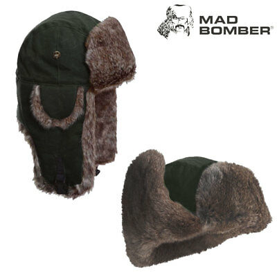 Mad Bomber Waxed Bomber Hat (XL)- Moss/Brn Faux Fur