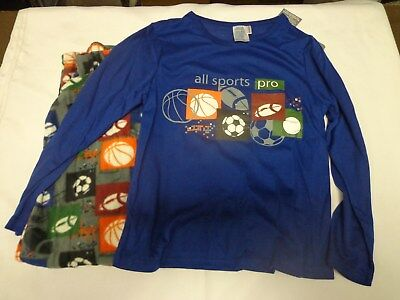 New Boys soccer baseball Micro Fleece 2 piece pajama set size 8/10, 12/14, 16/18