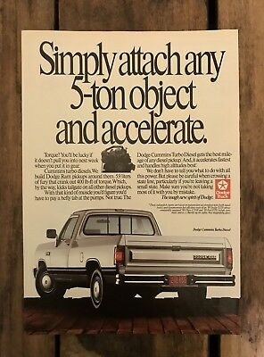 DODGE RAM Cummins Turbo Diesel Truck VTG 1989 Print Ad Magazine Advertisement