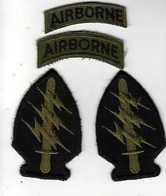 VN War Special Forces AIRBORNE patch group, tough to find, 4 patches in group