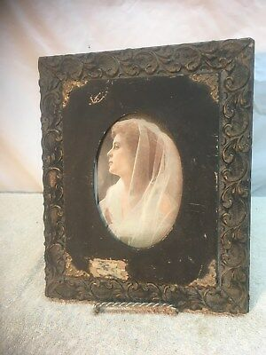 Vintage early 1900s Art Deco Wood Frame with Wedding Bride Photo 11in x 9in