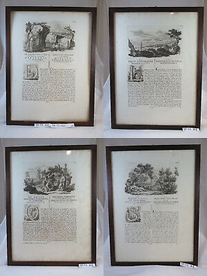 4 Antique Prints Engraving Paestum Italy From Rare Book Published In Rome 1784
