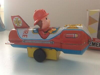 EMERGENCY SPACE ROCKET Mecanical Wind-up Motor Altes Blechspielzeug OVP