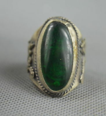 Collectable Handwork Decor Old Miao Silver Inner Buddha Inlay Jade Exorcism Ring