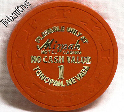 1 Ncv No Cash Value Poker Gaming Chip Mizpah Hotel Casino Tonopah Nevada 1984