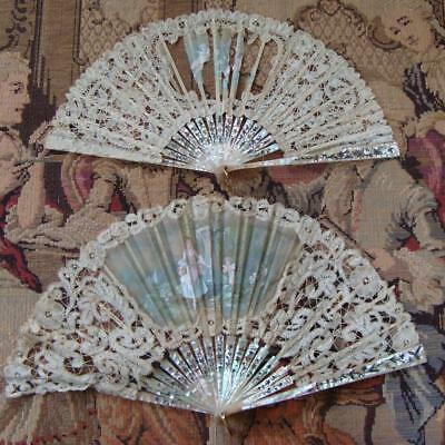 A26 - Two Antique Fans - For Spares Or Repair - Brussels Lace - Mother Of Pearl