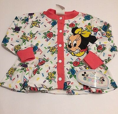 Vintage Deadstock Minnie Mickey Mouse Disney Babies Cardigan Top 12m