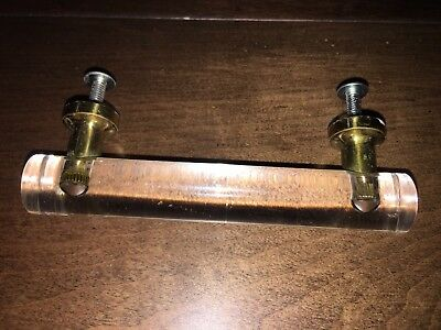 Vintage Lucite And Polished Brass Furniture Pulls Mid Century Hollywood Regency