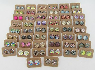50 Pairs of Cabochon and Glass Dome Earrings - Bulk Lot - Wholesale - Handmade C