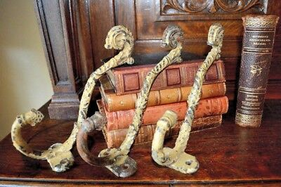 One Antique Large French Cast Iron Hook Old Paint Shabby Coat Hat Robe Hooks