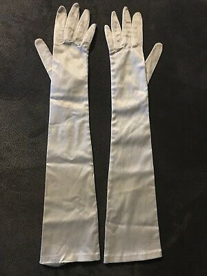 Vintage Kay Fuchs West Germany over the elbow stretch satin gloves Child size M