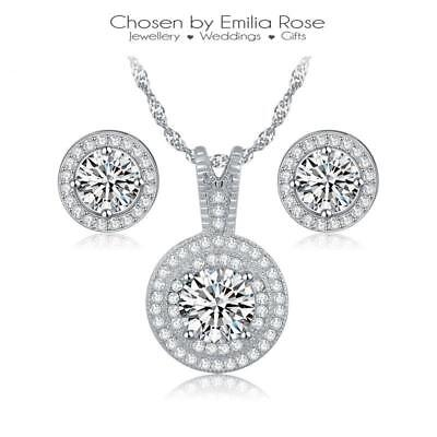 925 Sterling Silver Crystal Necklace & Earrings Gift Box Set Womens Jewelry
